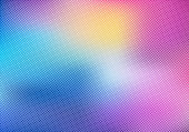 Colorful blurred background with halftone effect overlay texture. Vector illustration