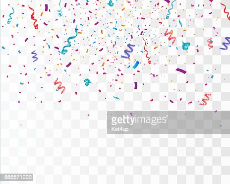 Colorful bright confetti isolated on transparent background. Festive vector illustration : Vector Art