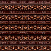 colorful bright ethnic seamless striped pattern background in orange and black colors, vector illustration