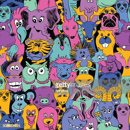 Colorful Bright Seamless Pattern With Animals. : Vector Art