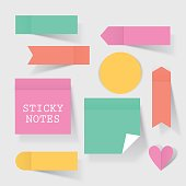 Colorful business sticky notes set for concept design. Modern vector illustration