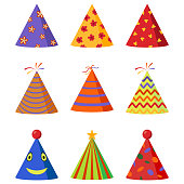 Colorful Caps set. Party hat cone collection. Accessory, symbol of the holiday. Birthday . Vector illustration.