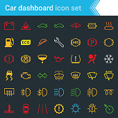 Complete colorful vector set of car dashboard, indicators and service maintenance icons, isolated on dark background