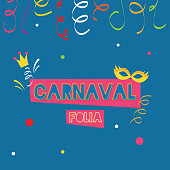 Colorful carnival party poster template, blue background