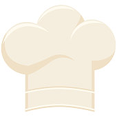 Colorful cartoon chef hat silhouette. Cooking vector illustration for gift card certificate banner sticker, badge, sign, stamp, icon, label, icon, poster, patch