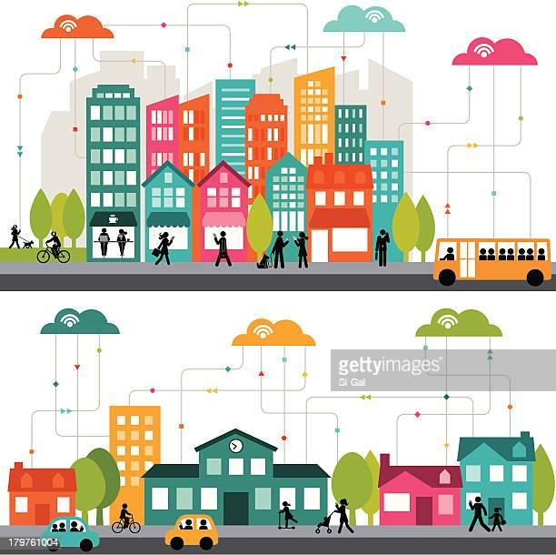 Colorato Fumetto Illustrazione di una città collegato