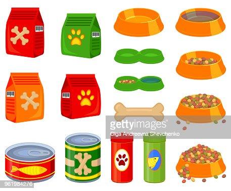 16 colorful cartoon pet food elements set : stock vector