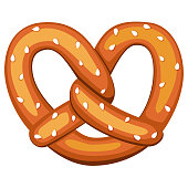 Colorful cartoon pretzel with sesame seed. German comfort food pastry. Oktoberfest festival themed vector illustration for icon, logo, sticker, badge, label, certificate, leaflet or banner decoration