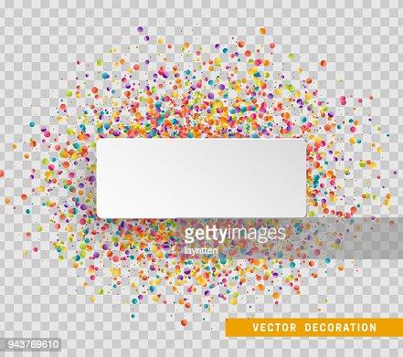 Fondo de celebración colorida con confeti. Burbuja de papel blanco para texto : arte vectorial