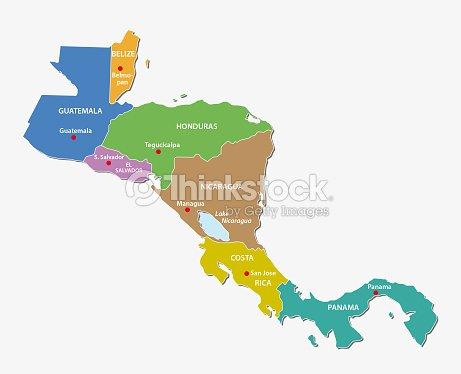 Costa Rica Karte Mittelamerika.Bunte Mittelamerika Administrative Und Politische Karte Vektorgrafik