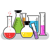 Colorful chemical vessels. Vector illustration