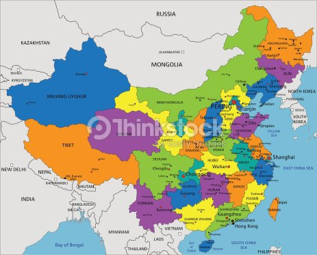 Colorful China Political Map With Clearly Labeled Layers Vector Art ...