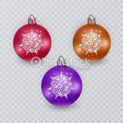 Colorful Christmas Balls On Transparent Background Vector Decorations Art