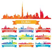 Colorful city skyline The Arabian Peninsula and Africa