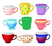 Colorful cup set, different tea or coffee cups vector Illustrations isolated on a white background.