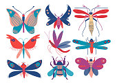 Colorful Cute Insects Set, Butterfly, Beetle, Bug, Mosquito, Moth, Dragonfly, Top View Vector Illustration on White Background