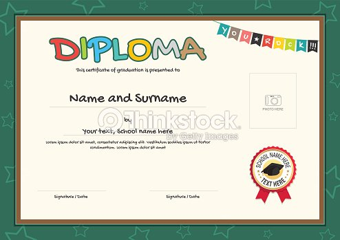Colorful Diploma Certificate Template For Kids In Vector Vector Art