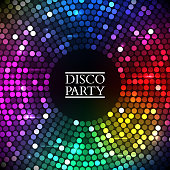 Abstract Colorful disco lights round. Vector illustration