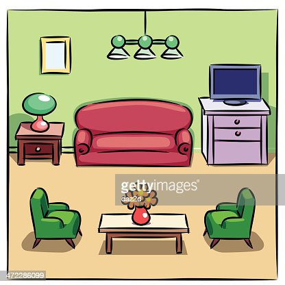 Colorful drawing of living room with furniture vector art for Drawing room furniture catalogue