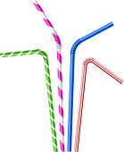 Colorful drinking straws set. Vector illustration with transparent effect, eps10.