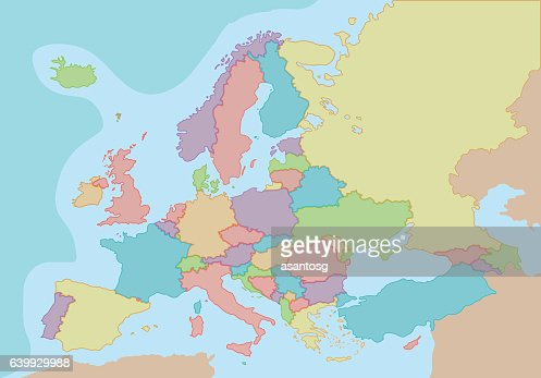 Colorful Europe Political blank map : Vector Art