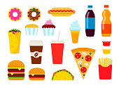 Colorful fast food set in flat style. Junk food vector icons collection.