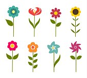 Colorful flowers icons. Vector illustration