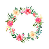 Colorful flowers wreath. Elegant floral collection with beautiful flowers and leaves in watercolor, hand drawn. Vector design for invitation, wedding or greeting cards.