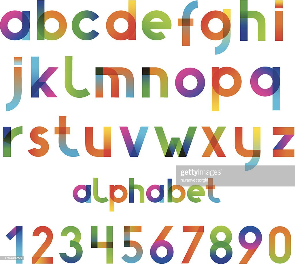 Colorful font and numbers collection