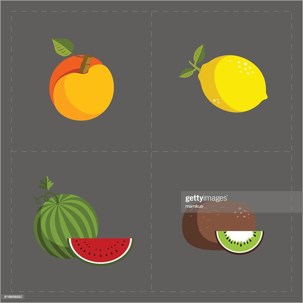 Colorful Fruit Icon Set on Grey Background : Vector Art