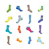 Colorful Fun Socks Set for Men and Women. Flat Design Style. Vector illustration
