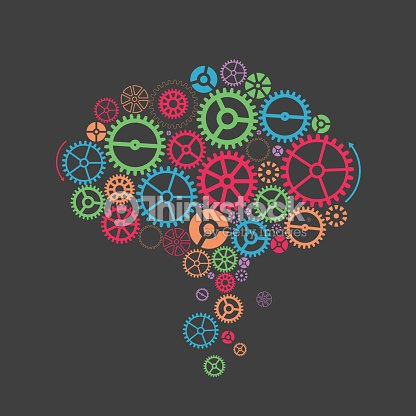 Colorful Gearslike A Brain Abstract Background Vector Art ...