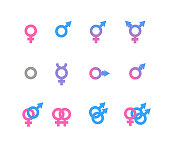 Colorful gender symbol and identity icons isolated on white background. Vector gender icons. Gender identities icons