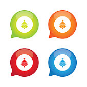 Colorful Glossy Christmas Tree Speech Bubble Labels