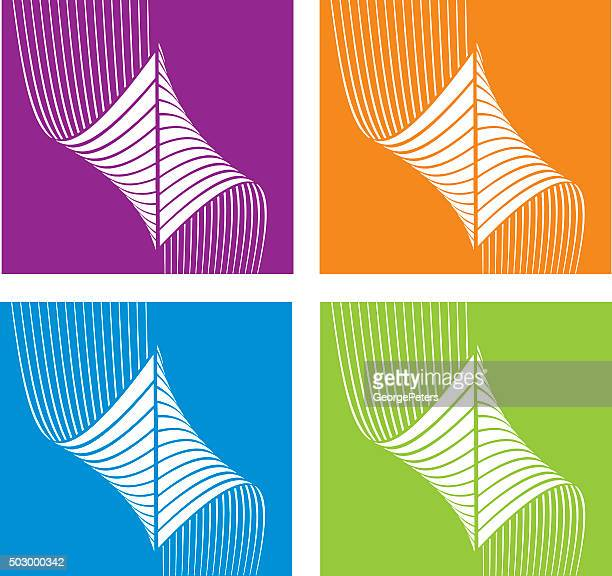 Tecnología colorido conjunto de iconos de semitono patrón
