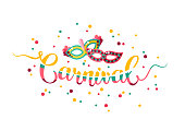Colorful hand lettering Carnival with masquerade masks isolated on white background. Vector illustration.