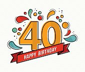 Happy birthday number 40, greeting card for forty year in modern flat line art with colorful geometric shapes. Anniversary party invitation, congratulations or celebration design. EPS10 vector.