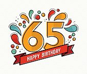 Happy birthday number 65, greeting card for sixty five year in modern flat line art with colorful geometric shapes. Anniversary party invitation, congratulations or celebration design. EPS10 vector.