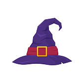 Colorful hat of witch or wizard. Attire for holiday Halloween, parties, children s parties, birthdays, magical accessory. Mystical hat, item for game user interface, web games. Illustration isolated.