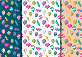 Colorful helium balloons seamless pattern set. Colorful childish decor repeat background. Hand drawn doodle cartoon style birthday party event decoration design concept. Vector illustration.