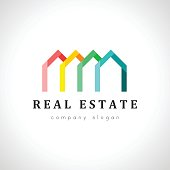Colorful houses concepts for real estate agency. Business and branding themed design element.