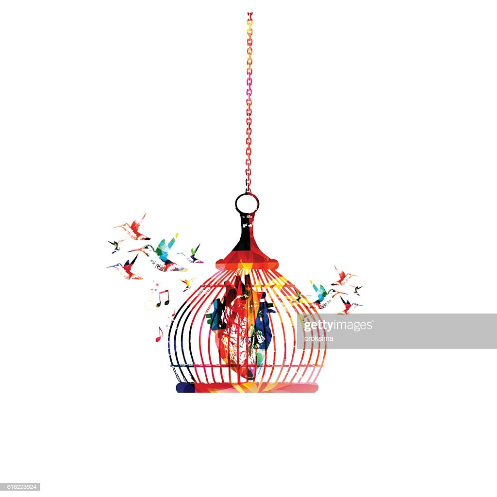 Colorful human heart in cage vector illustration : Vector Art
