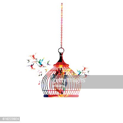 Colorful human heart in cage vector illustration : ベクトルアート