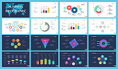 Colorful infographic charts set for presentation slide templates. Business elements. Concept can be used for annual report, advertising, flyer layout and banner.