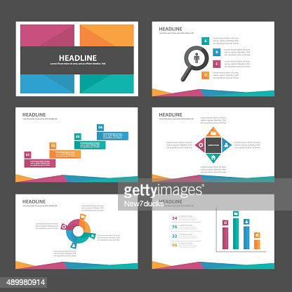 colorful infographic elements presentation template flat design, Powerpoint templates