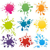 Colorful ink spots set. Splash splatter abstract shape. Vector illustration