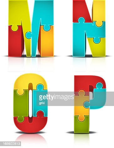 colorful letter puzzle vector art