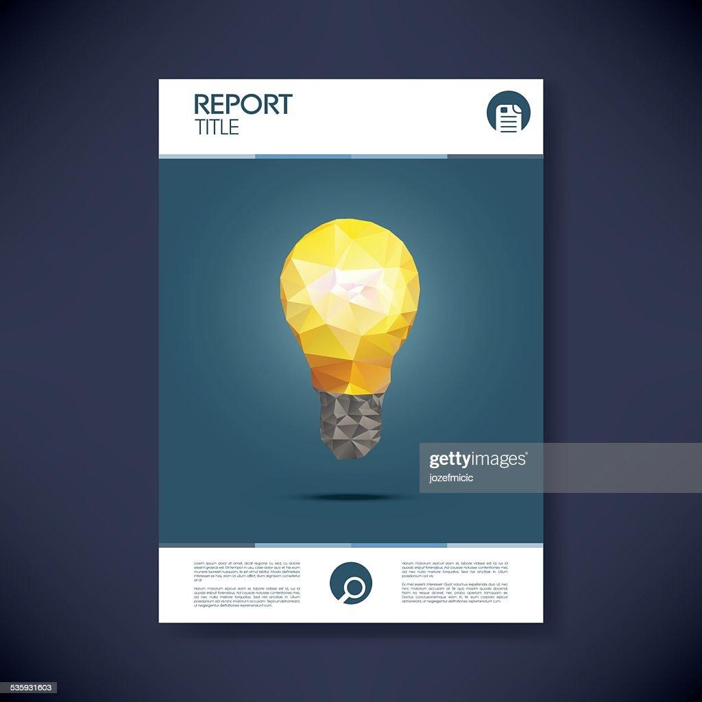 Colorful low polygonal light bulb concept symbol of creativity. Suitable : Vector Art