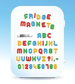 Colorful magnetic alphabet letters on refrigerator door, vector illustration