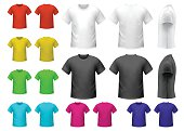 Colorful male t-shirts set isolated on white background